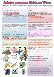 English Worksheet: Relative Pronouns: Which and Whom (keys included - completely editable)
