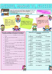 English Worksheet: COLLOCATION 43 - ACHIEVE, MANAGE TO, SUCCEED