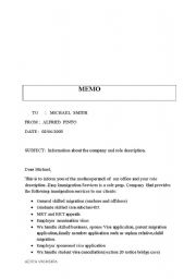 English Worksheet: writing a memo