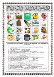 Worksheets Worksheet Idioms Food english worksheets idioms page 10 food idioms