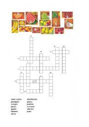 English worksheet: Fruit Crossword