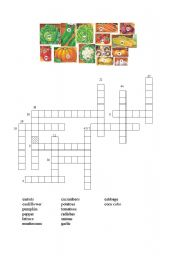 English worksheet: Vegetable Crossword
