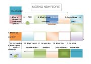 English Worksheet: Meeting new people