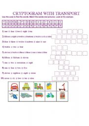 English Worksheet: CRYPTOGRAM WITH  TRANSPORT