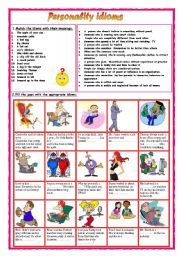 English Worksheet: Personality idioms  1