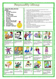 English Worksheet: Personality idioms 2