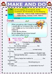 English Worksheet: Make & Do Exercises       7 Pages all together