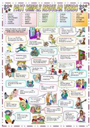 English Worksheet: PAST SIMPLE REGULAR VERBS (B&W VERSION INCLUDED)