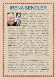English Worksheets: Irena Sendler - A Woman to Remember