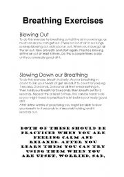 English Worksheets: Breathing Exercises for Kids