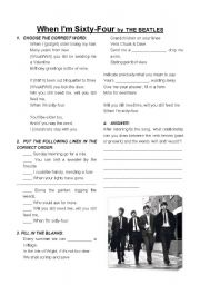 English Worksheets: When I�m 64 by The Beatles