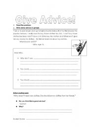 English Worksheets: Advice and Suggestions - Problems