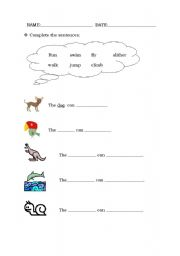 English Worksheet: animal actions