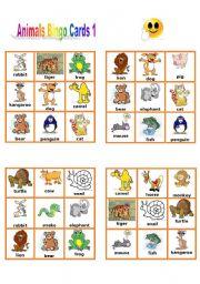 English Worksheet: Animal Bingo Cards 1/3