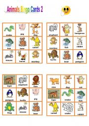 English Worksheets: Animals Bingo Cards 2/3