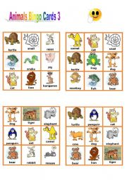 English Worksheet: Animals Bingo Cards 3/3