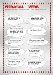 English Worksheets: phrasal verb questions
