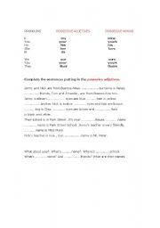 English Worksheets: possesive adjetives