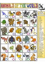 English Worksheets: Animals of the World