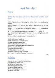 English Worksheet: Mock Exam - PET