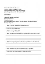 English Worksheets: Questions for the movie