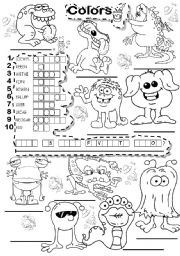 English Worksheet: BASIC COLORS PUZZLE
