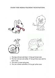 English worksheet: Colour the animals