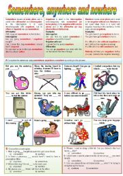 English Worksheet: Somewhere, anywhere and nowhere (completely editable)
