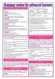 English Worksheet: Grammar review for advanced learners (keys included - completely editable)