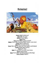 English Worksheet: Lion King Roleplay