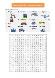 English Worksheet: Word Search (1) - Means of Transport