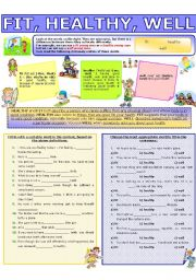 English Worksheet: COLLOCATION 48 - FIT, HEALTHY, WELL