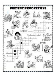 English Worksheet: Present progressive Crossword