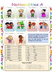 Conversation with nationality sheet A