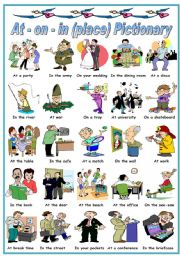 English Worksheet: PREPOSITIONS OF PLACE :AT - ON - IN -PICTIONARY (B&W VERSION INCLUDED)
