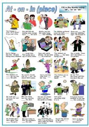 English Worksheet: PREPOSITIONS OF PLACE -AT- ON - IN -FILL IN THE BLANKS- (B&W VERSION INCLUDED)