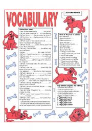 English Worksheet: �RECYCLING VOCABULARY� - TOPIC: ACTION WORDS. Elementary and up.