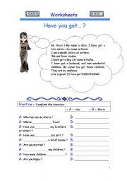 English Worksheets: Have you got... ? (worksheet 2)