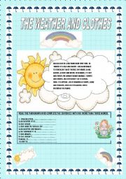 English Worksheet: THE WEATHER AND CLOTHES