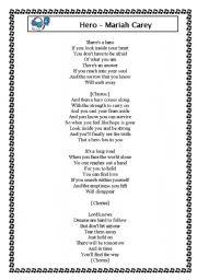 English Worksheet: Song Hero by Mariah Carey