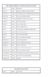English Worksheet: HOLIDAYS DE MEXICO AND THE UNITED STATES
