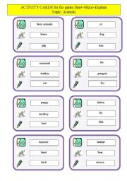 English Worksheets: Activity cards for the game Draw-M-Explain topic ANIMALS