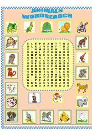 English Worksheets: Animals-Word search