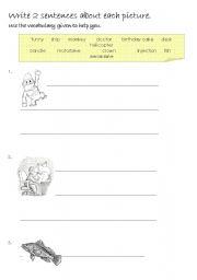 English Worksheets: Writing Sentences part 1