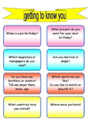 conversation cards (40 questions on getting to know you