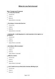 English Worksheets: When do you feel stressed