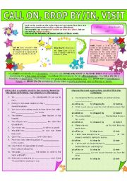 English Worksheet: COLLOCATION 51 - CALL ON, DROP BY/IN, VISIT