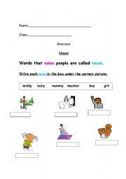 English Exercises: Naming Words