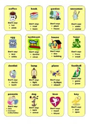 English Worksheets: Taboo cards 2