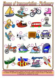 Means of transportation - pictionary + activities (fully editable, pictionary keys included, American English)